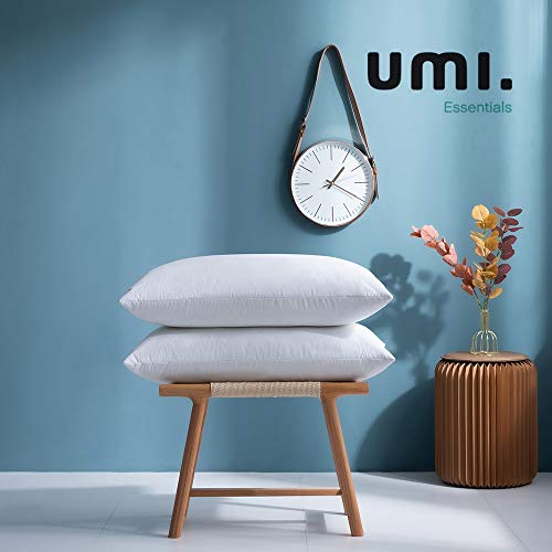 Amazon Brand - Umi Pack of Two White Goose Feather Pillows with 100% Cotton Fabric (48 x...