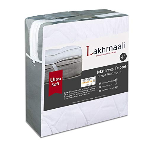 Lakhmaali Microfiber Quilted Single Mattress Topper 4 inch, Extra Soft, Fluffy and Hypoallergenic...