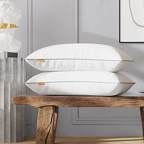 Sweetnight Pillows Pack of 2 Bed Pillows 100 Percent Cotton Fabric Anti Snore, Soft Hotel Quality...